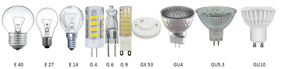 виды цоколей ламп